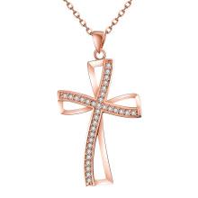 Europa Neue Design Persönlichkeit Kreuz Form Zircon Anhänger Rose Gold Halskette