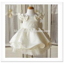 Ivory Fancy Flower Girl A-Line Scalloped Sleeveless Custom Made Vestidos Girl Dress for Wedding FG013 3-year-old-girl-dress