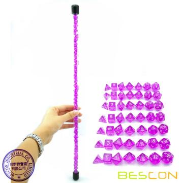 Bescon 49pcs Gem Purple Mini Polyedrische Würfel Set in Langrohr, Gem Mini Dungeons und Dragons RPG Dice 7X7pcs, Long Stick Set