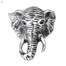Vintage Men Custom Jewelry Personality Stainless Steel Animal Head Elephant Ring