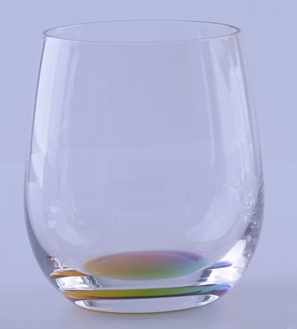 Br 8168stemless Wine Glass With Rainbow Bottom
