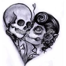 Conceptions personnalisées de tatouage de transfert de l'eau de crâne de crâne pour le tatouage non-adhésif de tatouage d'autocollant d'Halloween
