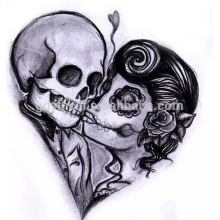Customized skull tribal water transfer tattoo designs for non-taxic sticker tattoo Halloween sticker tattoo