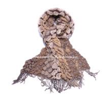 Lady′s Fashion Brown Chunky Winter Warm Bubble Ruffle Scarf