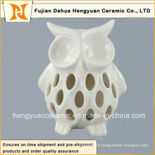 Lovely Hollow out Ceramic Owl Candle Holder, Owl White Glazed