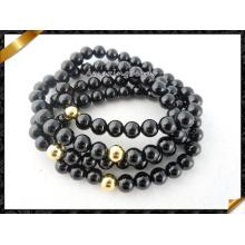 Großhandel Gold Perlen schwarz Achat Stein Schmuck Armbänder (CB065)