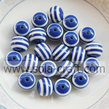 12MM 500Pcs Blue Stripe Polystyrene Nigeria Resin Jewelry Alibaba Loose Swarovski Wholesale Shamballa Lantern Bead