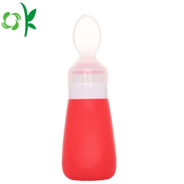 BPA Silicone Baby Squeeze Feeding Spoon With Bottle