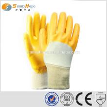 Luvas de proteção plana amarela de punho