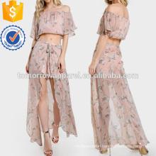 Off Shoulder Floral Print Crop & Matching Shorts Set Manufacture Wholesale Fashion Women Apparel (TA4108SS)