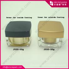 Manufacturer wholesale 50ml fashion pollution-free square acrylic cosmetic cream jar