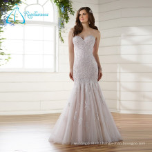 Lace Appliques Pearls Sequined Beading Wedding Dress Mermaid