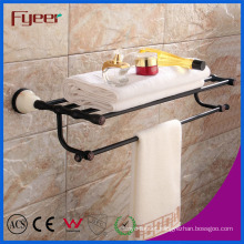Fyeer Ceramic Base Black Bathroom Accessory Brass Towel Rack
