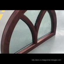 Фантастическая арочная оконная рама из дуба с резным стеклом для дома