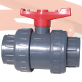 UPVC TrueUnion Ball Valve Red Handle Grey Body