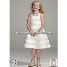 Art und Weisekristalle Hand blüht weißes Organza-Ballkleid-Blumen-Mädchen-Kleid-Knöchel-Längen-preiswerte kleine Mädchen-Partei P [ageant Kleid