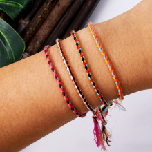 Jewelry writing and playing hand twisted thread bracelet Tibetan cotton copper Bead Tassel hand rope adjustable