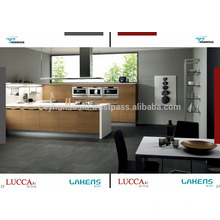 Luccart Fabrik Design Küche Schrank mit weißen Acryl Arbeitsplatte, Teakholz Furnier Tür