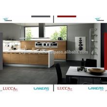 Luccart Factory Design Gabinete de cozinha com bancada de acrílico branco, porta de folheado de teca