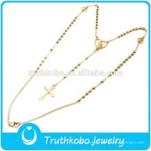 TKB-JN0028 Bijoux en gros perles de chapelet doré croix en acier inoxydable 316L collier pour femmes