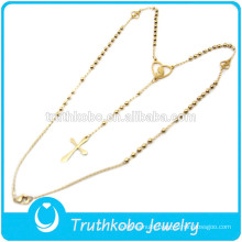 TKB-JN0028 Wholesale jewelry golden rosary beads cross 316L stainless steel necklace for women