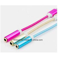 Nylon 12cm 3.5mm audio adaptador de auriculares adaptador 8 pin luz-Ning cable USB para iPhone7 / 7 Plus