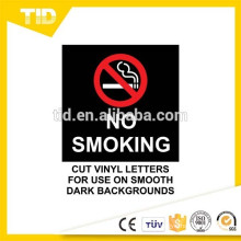 No Smoking In Vehicle, reflective label, black ground