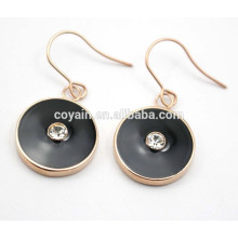 Luxus schwarzem Emaille rundes Rosé vergoldeter Ohrring mit Kristall
