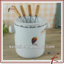 Bougies de fondue en céramique blanche