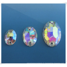 2014 Fashion Oval Ab Glass Stone pour couture en tissu