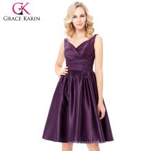 Grace Karin Ärmellos V-Ausschnitt Satin Lila Farbe Heimkehr Kleid Kurz Prom Party Kleid 8 Größe US 2 ~ 16 GK000126-2