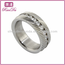 hot stainless steel rings crystal diamond ring stripe ring