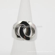 2 círculos vinculados anillos de promesa de acero inoxidable para la novia