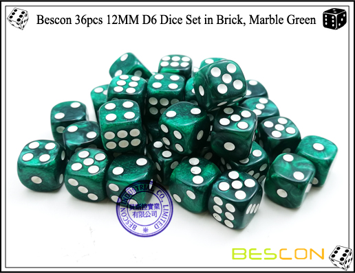 Bescon 36pcs 12MM D6 Dice Set in Brick, Marble Green-5