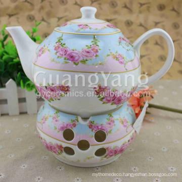 Different Beautiful Flowers Printing Enamel Tea Pot