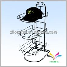 Estante de exhibición derecho caliente del sombrero del metal del almacén de ventas de la manera