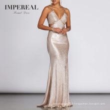 Rose Gold Open Breast Shiny Women Gown Elegant Evening Dresses 2018 Long