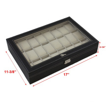 Black Leather 24 Mens Watch Case (HX-A0755)