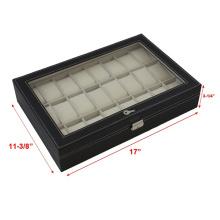 Черный кожаный 24 корпус мужские часы (НХ-A0755)