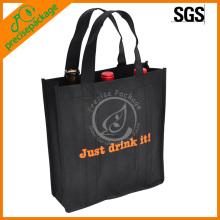 Recicle la bolsa reutilizable no tejida barata del vino de las compras