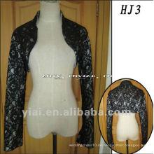 HJ3 Freie Verschiffen-Qualitäts-nach Maß schöne schwarze Spitze-hohe Ansatz-nicht-transparente starke Hochzeits-Jacke