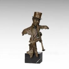 Busts Brass Statue Oboe Musician Decoration Bronze Sculpture Tpy-487