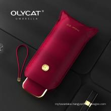 Olycat Flat Cute Mini Umbrella Five Folding UV Luxury Umbrella Rain Women Portable Summer Outdoor Pocket Sun Umbrella Girls Gift