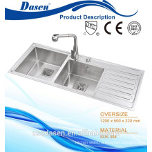DS 12050 H handmade sink stainless steel high quality 304 18 gauge sink with OEM pressing stamp logo for sale