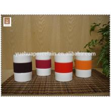 Alta qualidade FDA & SGS caneca de porcelana com alça de silicone