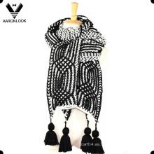 2016 nuevo invierno pesado mano tejer ganchillo grueso bufanda colgar franja