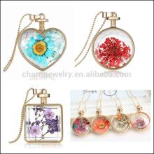 Especial innovador corazón de la moda collar redondo locket con Flores secas collar colgante regalo de Navidad para las mujeres los niños