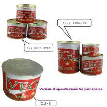 Gino Quality 2200 G Pasta de tomate enlatada con estaño abierto normal