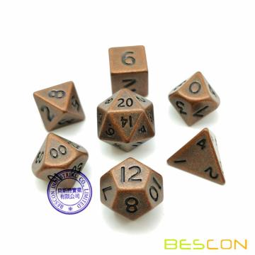 Bescon 10MM Mini Solid Metal Dice Set Antique Copper, Mini Metallic Polyhedral D&D RPG Miniature Dice 7-sets