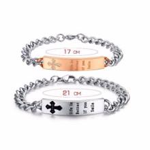 Cheap personalizado unisex feito de metal tags logotipo slogan pulseiras